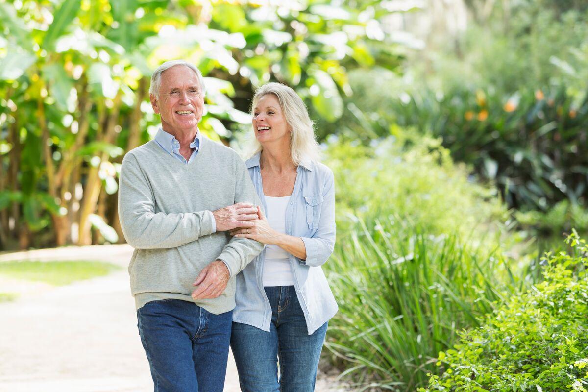 senior couple taking a walk outside